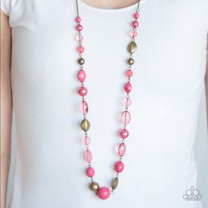 Paparazzi Secret Treasure Pink and Brass Necklace